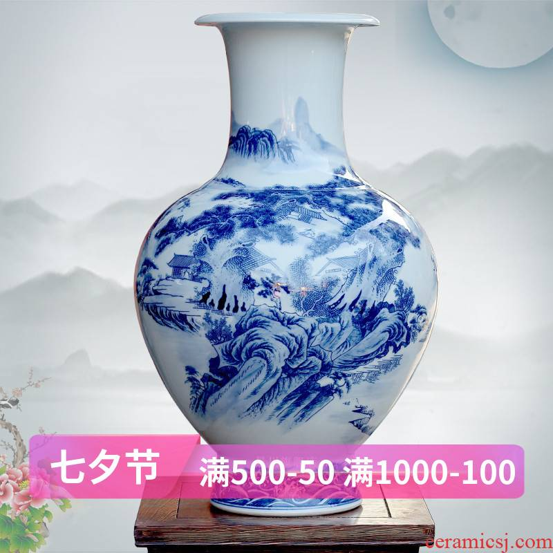 Jingdezhen blue and white landscape hand - made ceramics of large vases, archaize sitting room adornment large porcelain furnishing articles
