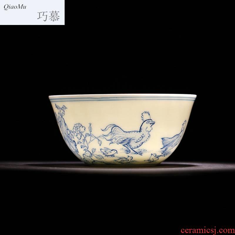 Qiao mu you fight exotic chicken cylinder cup lyrics 】 【 yongzheng chenghua chicken color bucket cylinder cup jingdezhen manual archaize ceramic cups