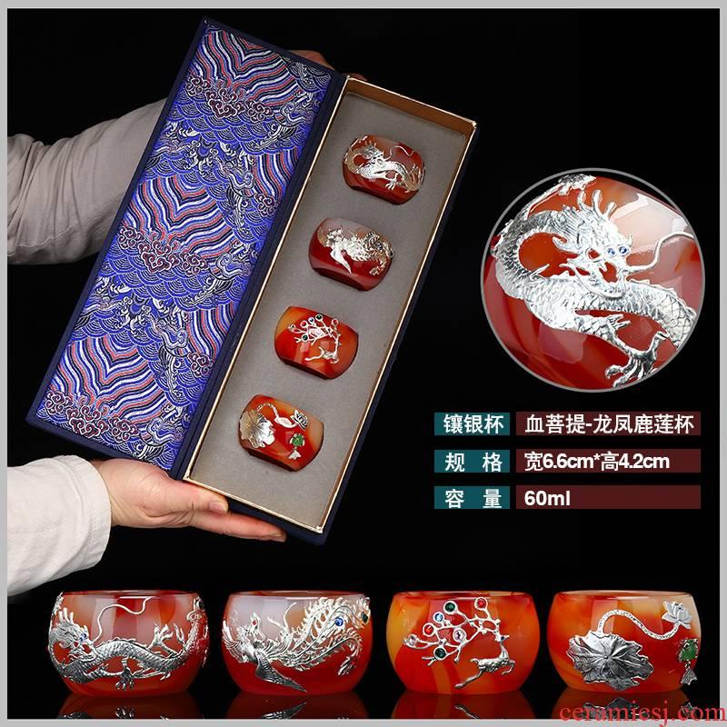 "Recreational product silver agate jade porcelain teacup masters cup sample tea cup upset coloured glaze jade ""bodhi kung fu tea set"