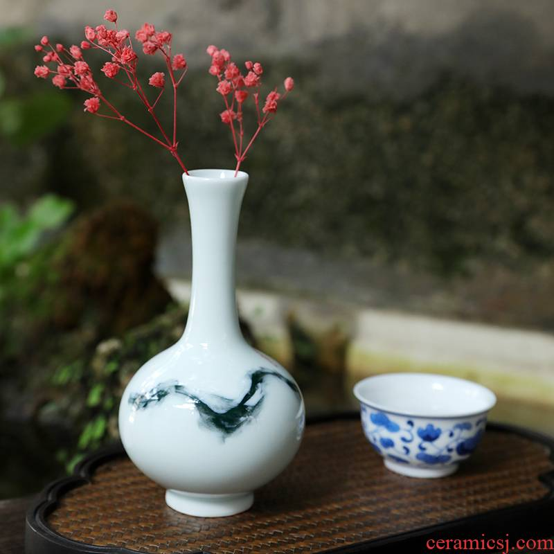 Bluish white single mini floret bottle ceramic furnishing articles desktop sitting room of Chinese style restoring ancient ways is I and contracted zen flower arrangement