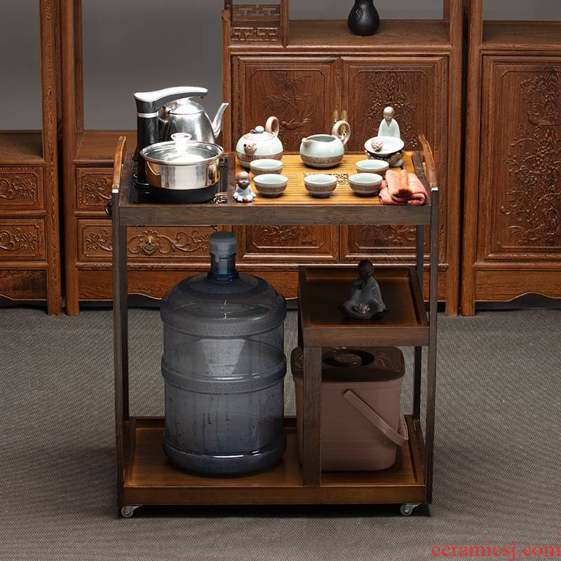 Kung fu tea tea mobile car suits for domestic tea tray tea taking automatic office ceramic cups