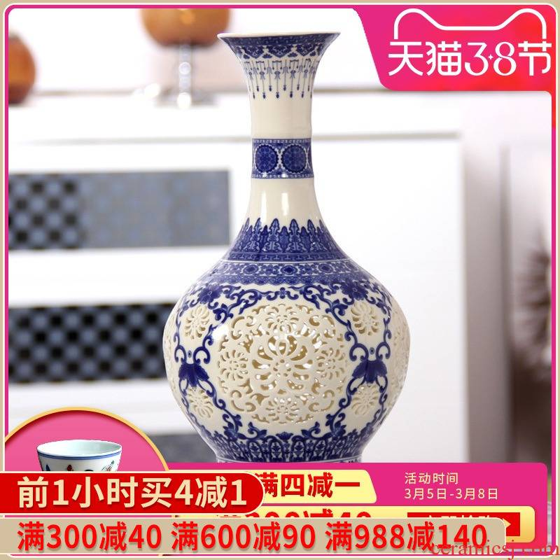 392 jingdezhen ceramic thin foetus by hand hollow - out blue bottles of modern home decoration handicraft furnishing articles