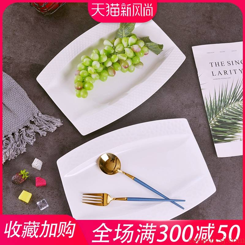 Jingdezhen relief grain under the glaze color ipads porcelain Japanese new fish plate household creative ceramic large steamed fish dishes