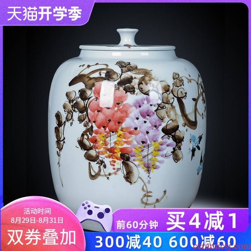 Jingdezhen ceramics hand - made caddy fixings large seal storage jar pu 'er tea cake tin, the seventh, peulthai the barrel with cover