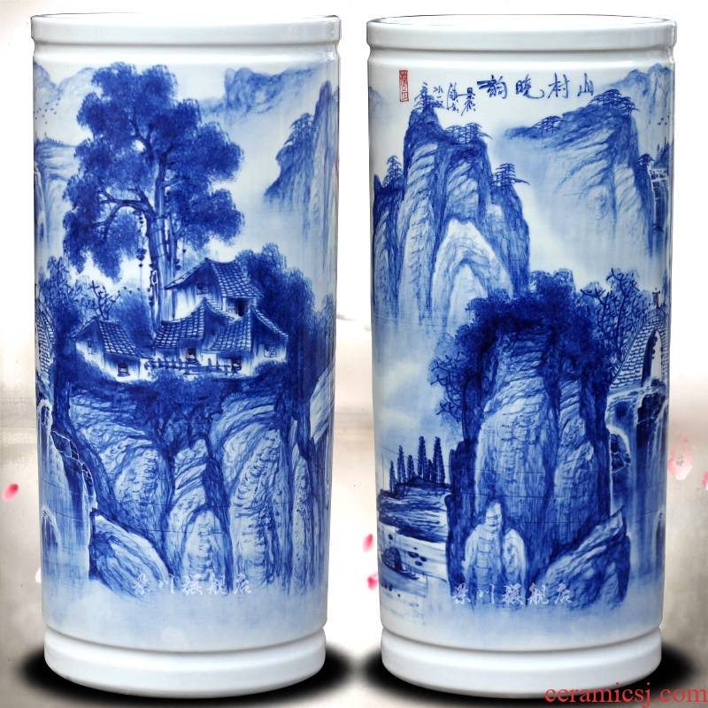 Jingdezhen ceramic vase straight quiver pastel/book tube/cap tube of the sitting room of Chinese style of calligraphy and painting mesa place adorn article