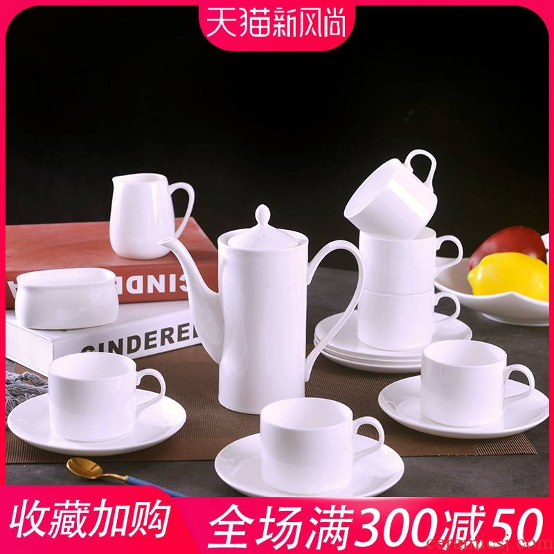 Pure white ipads porcelain jingdezhen 15 head coffee set small European - style key-2 luxury home creative ceramic coffee cups and saucers suit