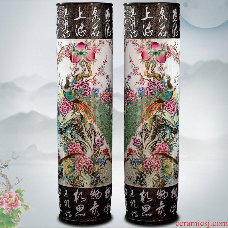 Hand - made peacock peony figure quiver jingdezhen ceramic famille rose porcelain vase of large stores decoration shop furnishing articles