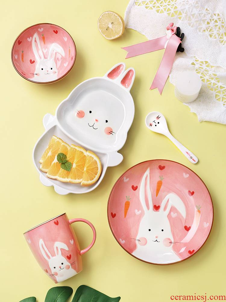 Girl dishes suit ceramic household use Japanese ins wind one lovely creative move plate tableware