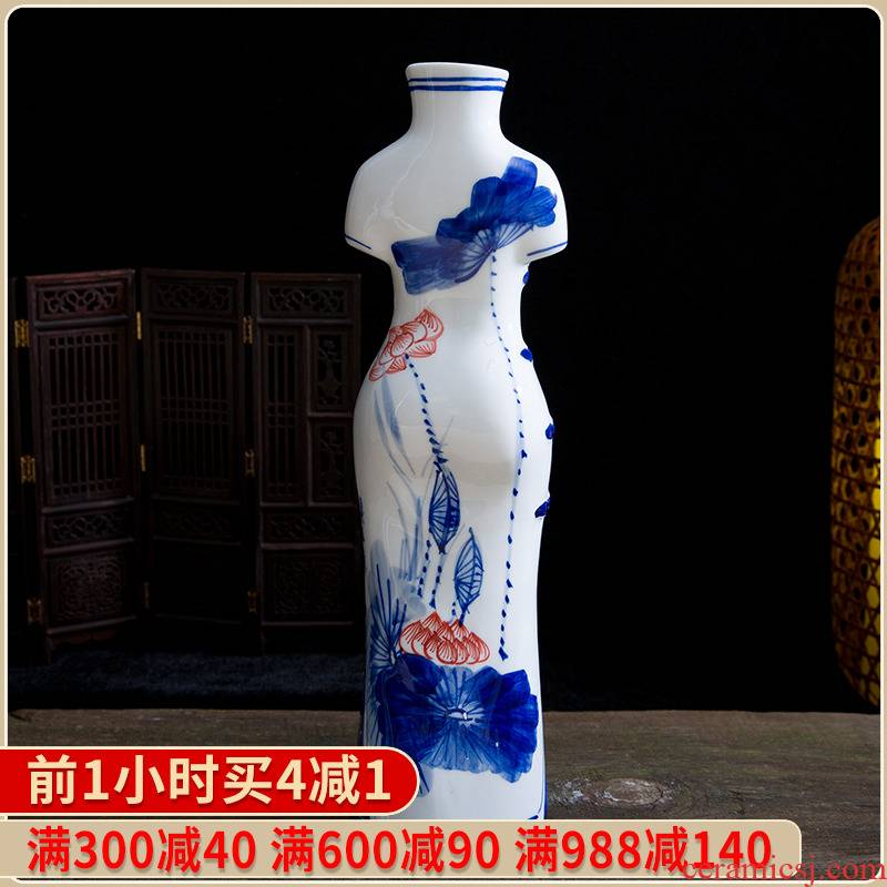 117 jingdezhen ceramic hand - made modern cheongsam vases, flower arrangement and elegant Chinese style household adornment handicraft furnishing articles