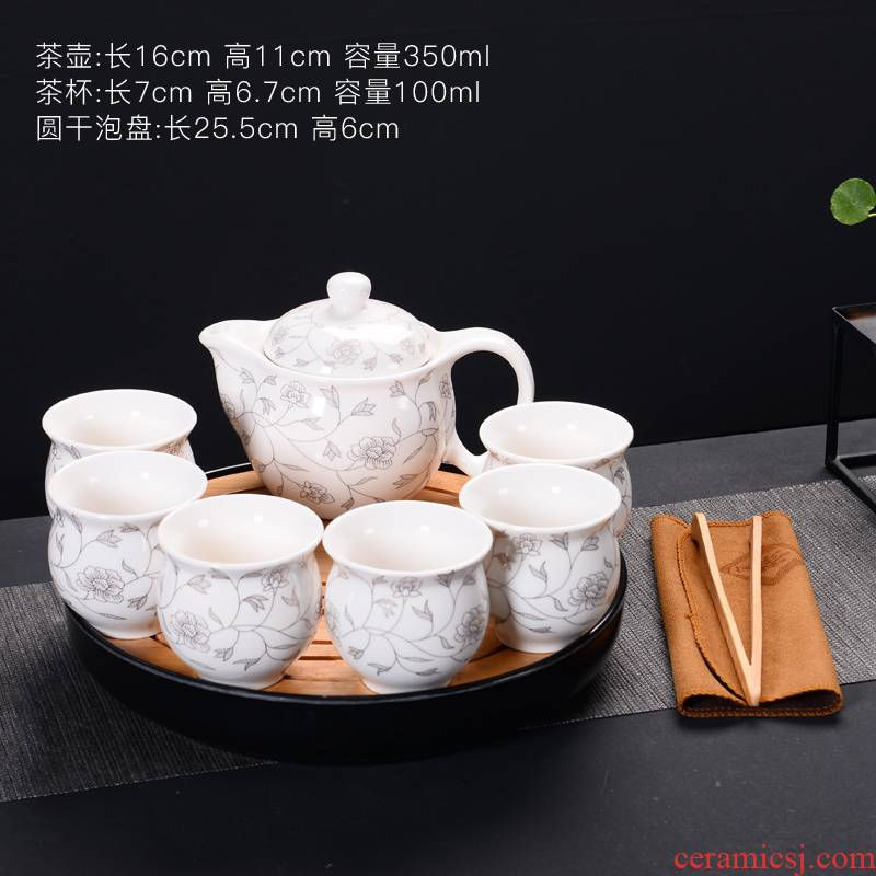 Prevent hot kung fu tea set of blue and white porcelain ceramic household cup Chinese style restoring ancient ways of a complete set of large teapot