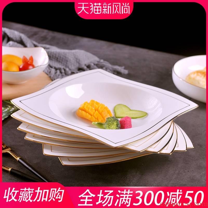 Jingdezhen domestic manual gold 】 【 ipads China up phnom penh dish European creative dishes ceramic deep soup plate suit