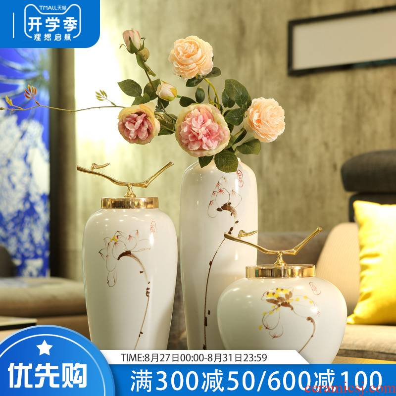 Modern European ceramic vase furnishing articles table light sitting room key-2 luxury small pure and fresh and home decoration flower arranging bottles adornment