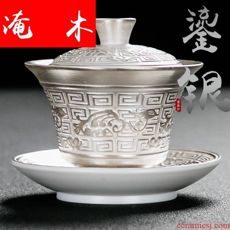 Submerged wood manual tureen tasted silver gilding ceramic cups kung fu tea tea set three to silver tureen large tea bowl of household