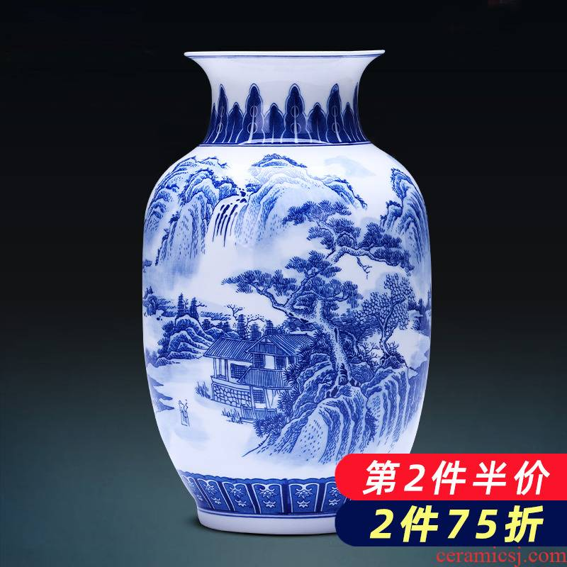 Jingdezhen porcelain ceramic thin body of blue and white porcelain vases, flower arrangement sitting room porch place, a new Chinese style household ornaments