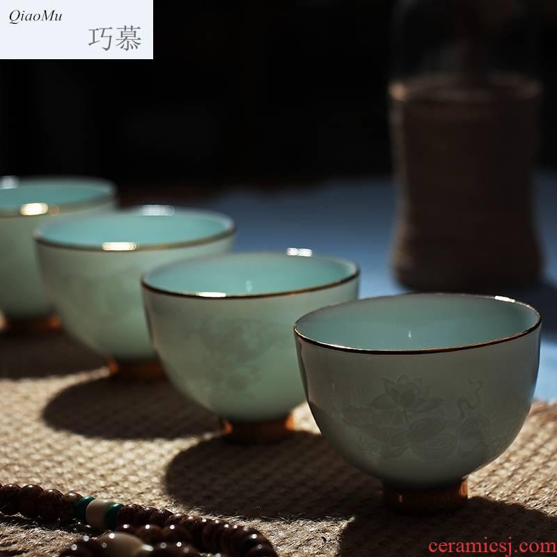 Kung fu qiao mu tea cups of jingdezhen ceramics cup sample tea cup manually celadon noggin pu - erh tea cup