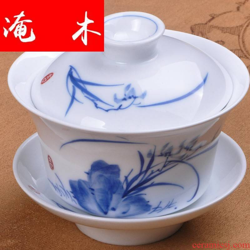 Submerged wood town ceramic landscape tureen hand - made kung fu tea set of blue and white porcelain cup bowl nameplates tureen large detailed scene