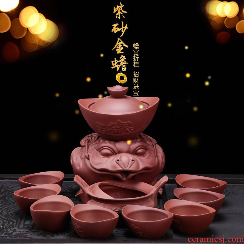 Kung fu tea set half automatic coarse pottery lazy people prevent hot cup purple suit creative household contracted restoring ancient ways