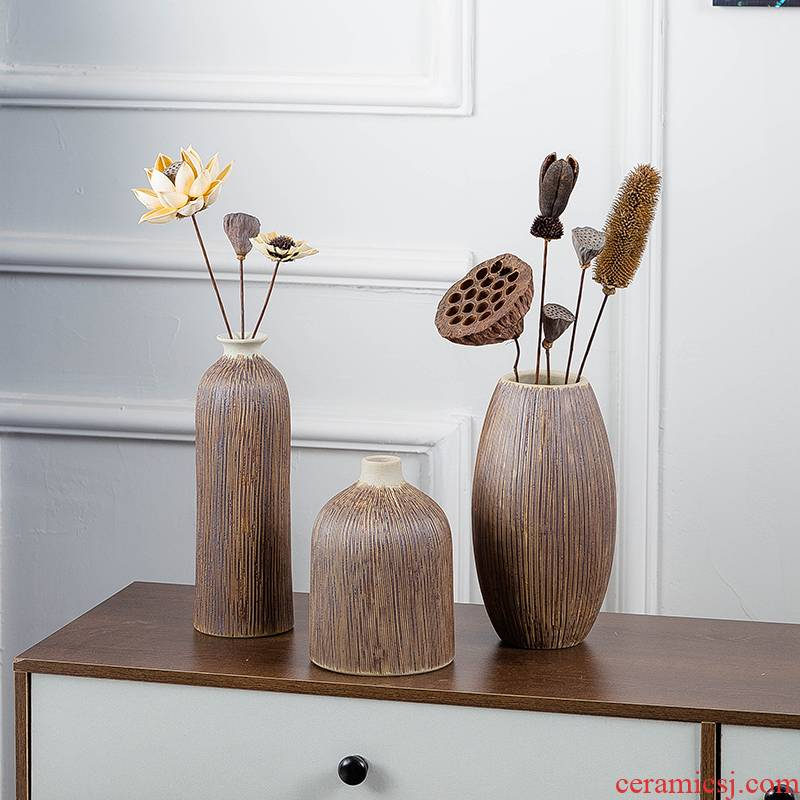 Ceramic vase three - piece restoring ancient ways of I and contracted household wine decorative flower implement creative furnishing articles dry flower vase