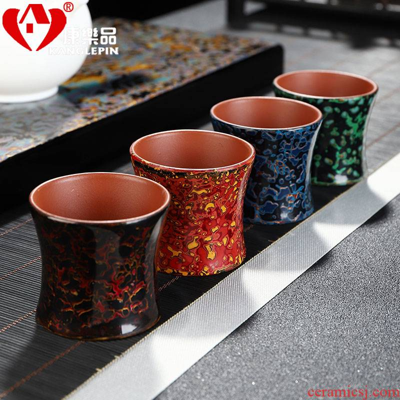 Recreational product lacquer tea Chinese violet arenaceous kung fu tea cups manual Chinese lacquer master cup single CPU ceramic sample tea cup