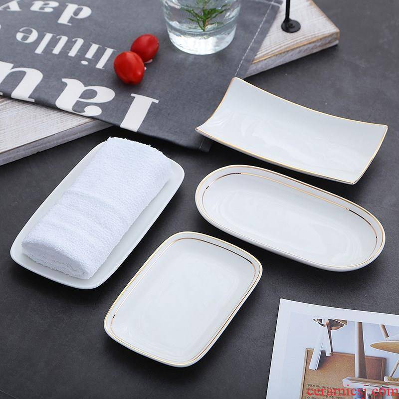 View the best small fruit dish towel tray was European - style hotel towel dish dishes steamed vermicelli roll plate disc ceramic disc