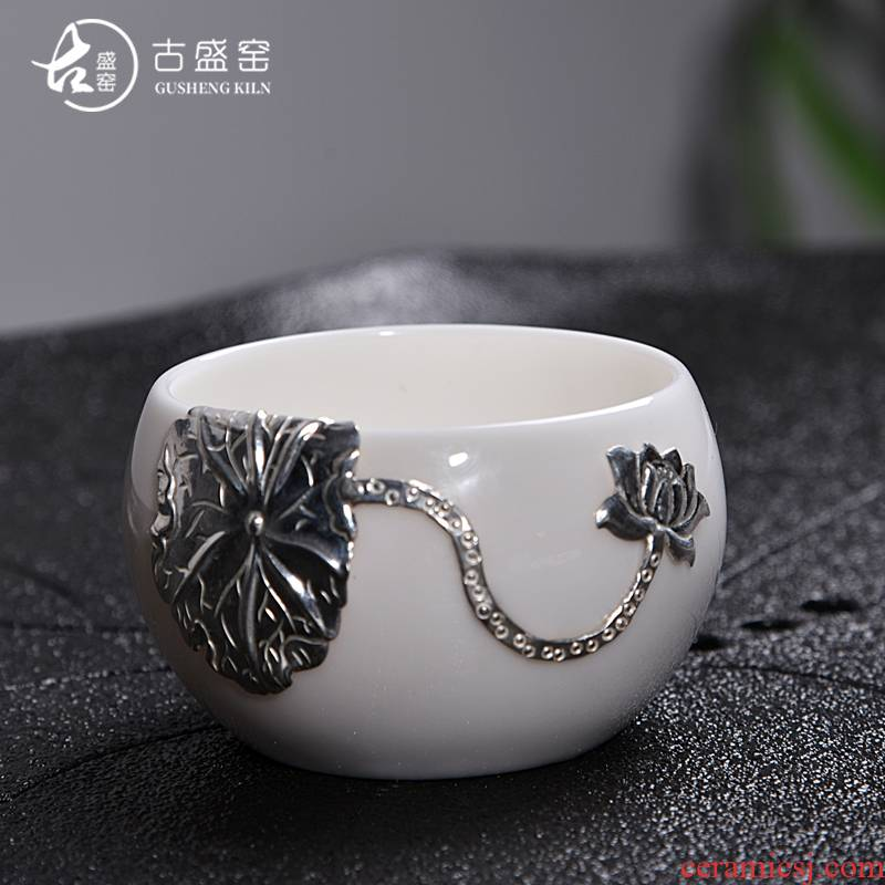 The ancient sheng up new lotus lamp that white porcelain ceramic whitebait cup silver inlaid with silver tea bowl masters cup a cup of tea