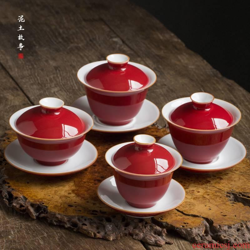 Jingdezhen ceramic ji red ruby red large tureen tea sets tea bowl three tureen only single kung fu tea set