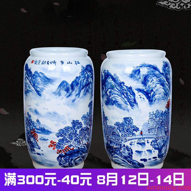 Jingdezhen ceramics masters hand draw flower arranging large blue and white landscape wide expressions using bottle gourd household living room decorated furnishing articles
