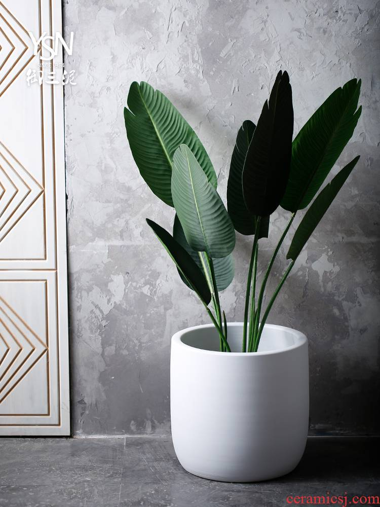 Royal three Nordic flowerpot contracted white mud large ceramic vase landing creative landscape forest villa indoor decoration