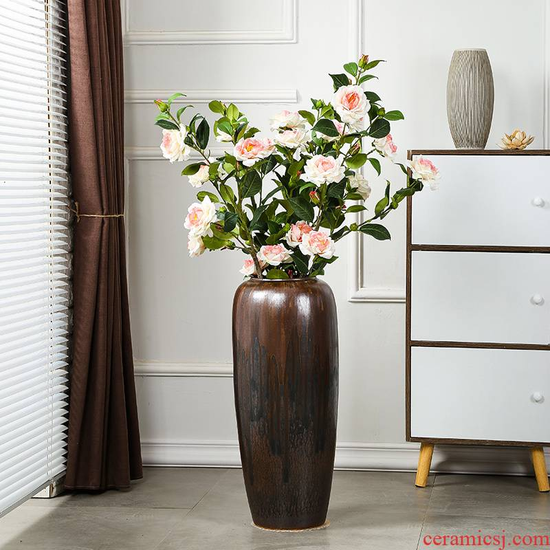 Jingdezhen ceramic restoring ancient ways of large vases, dried flowers, living room decoration large I and contracted Europe type arranging flowers