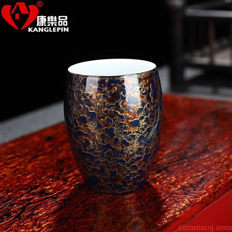 Recreational product lacquer tea Chinese palace gold wind fragrance - smelling cup pure manual white porcelain lamp that traditional Chinese lacquer cup paint
