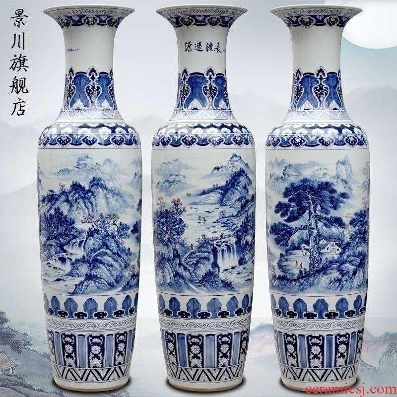 Jingdezhen blue and white porcelain has a long history in the hand - made bold ground ceramic vase store large sitting room of Chinese style furnishing articles