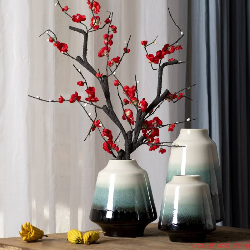Modern new Chinese ceramic vase living room table antique Japanese teahouse adornment zen flower arranging porch place