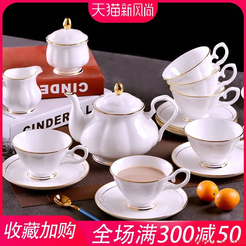 """Manual gold"" jingdezhen ceramic coffee set ou up phnom penh household ceramic coffee cups and saucers key-2 luxury suits for"