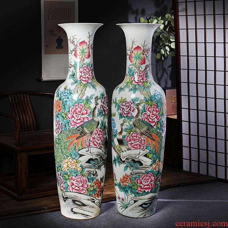 Jingdezhen ceramic floor big vase archaize manual powder enamel sitting room furnishing articles furnishing articles hotel decoration