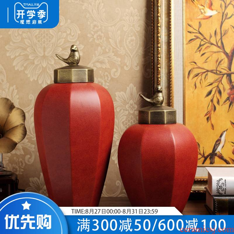 European modern ceramic example room TV ark, wine storage tank vase in the sitting room porch soft adornment is placed