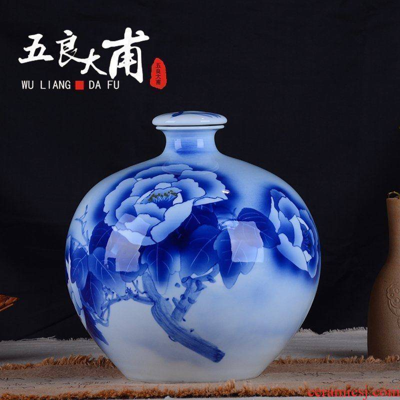 Jingdezhen blue and white mercifully hand - made ceramic bottle to collect the empty bottles of wine jar bottle storage bottle 5 jins of 10 jins