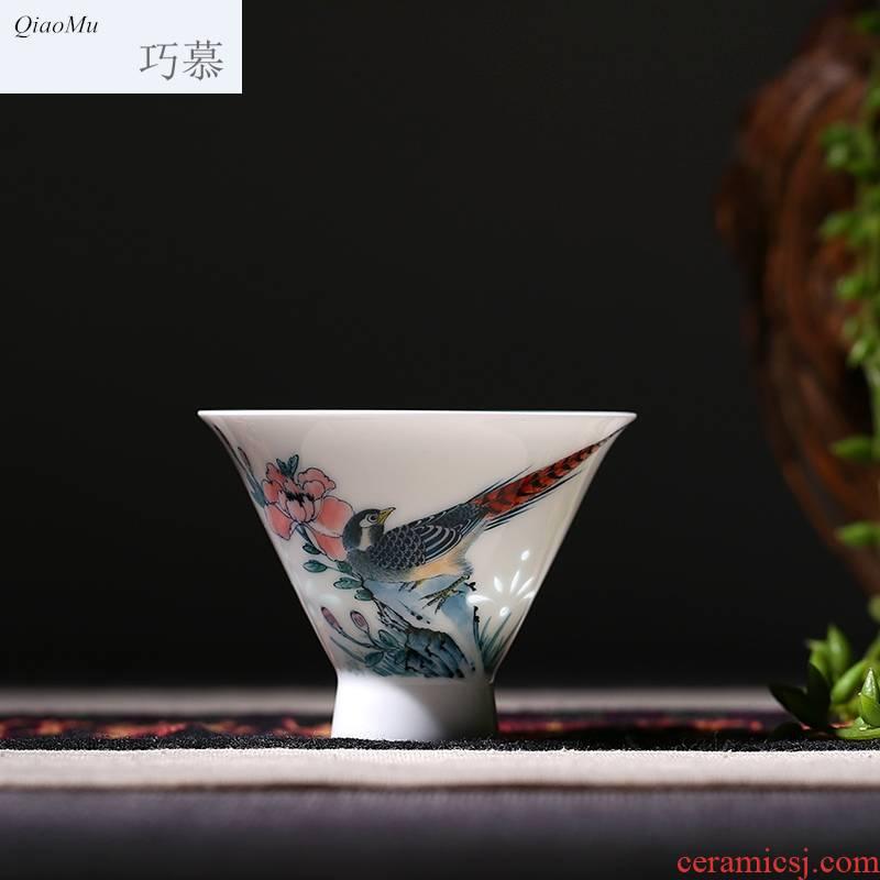 Qiao mu hand - made pastel sample tea cup jingdezhen ceramic cups beautiful celadon red kung fu tea cups of tea