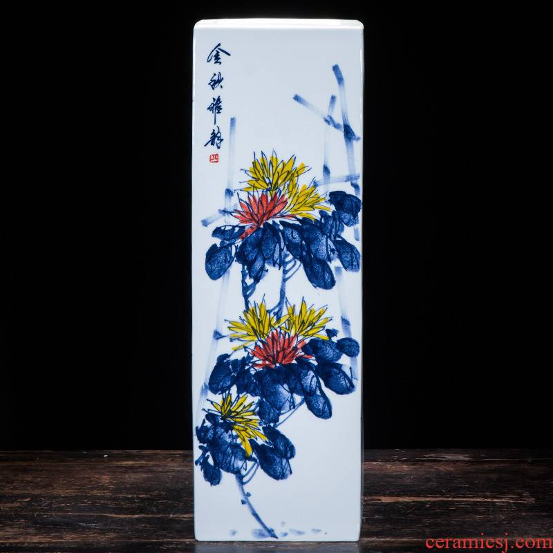 Hand - made by patterns of blue and white porcelain of jingdezhen ceramics surface square vase furnishing articles study calligraphy and painting is received