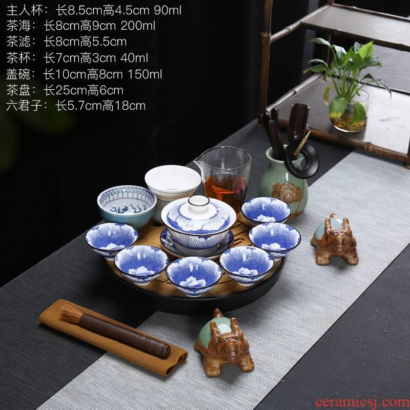 Blue and white pad printing white porcelain suet jade porcelain tea set the teapot paint home only three tureen kung fu tea set