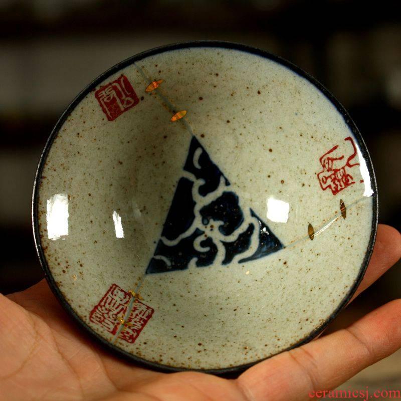 Purple clay of kung fu tea tea set ceramic cups hand paint, imitation curium porcelain cups, small cup sample tea cup