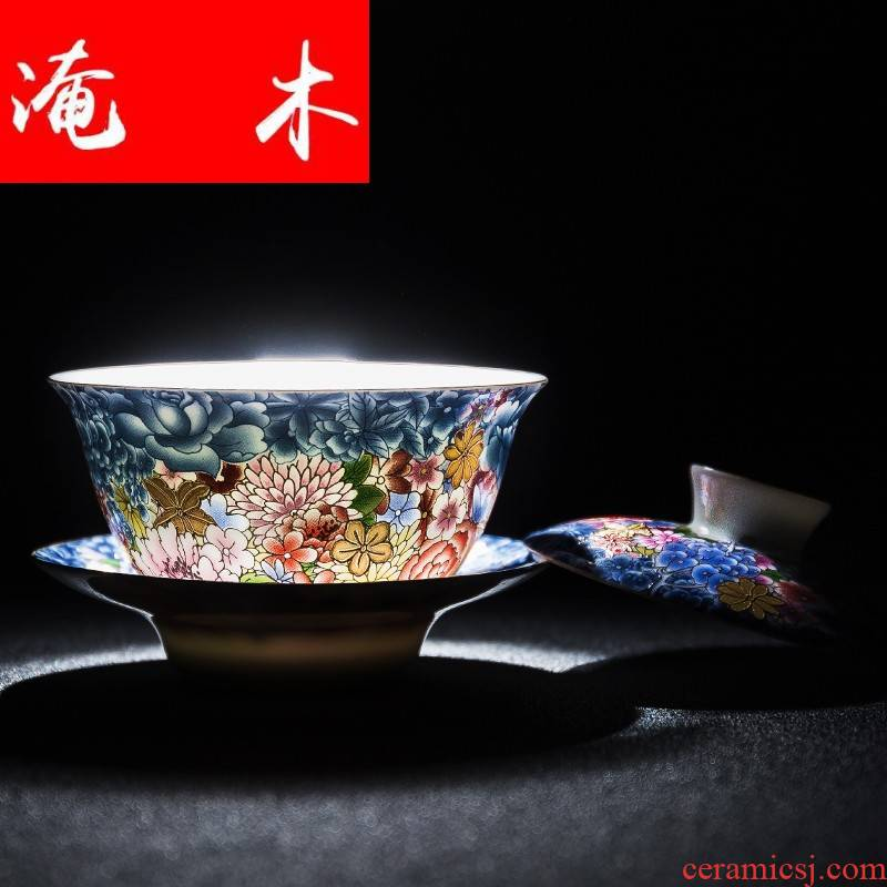 Submerged wood home than spend splendid tureen ceramic kung fu tea set three to use the cup tea bowl of jingdezhen colored enamel interface