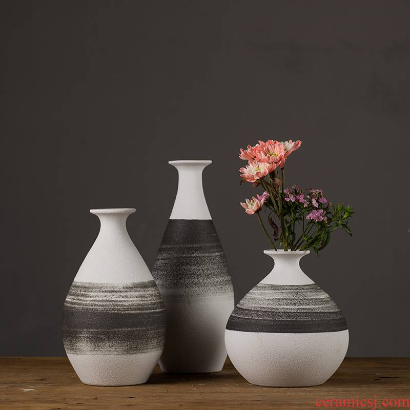 Jingdezhen ceramic furnishing articles flower arranging device of modern Chinese style is contracted sitting room TV ark, ink lines household decorative vase