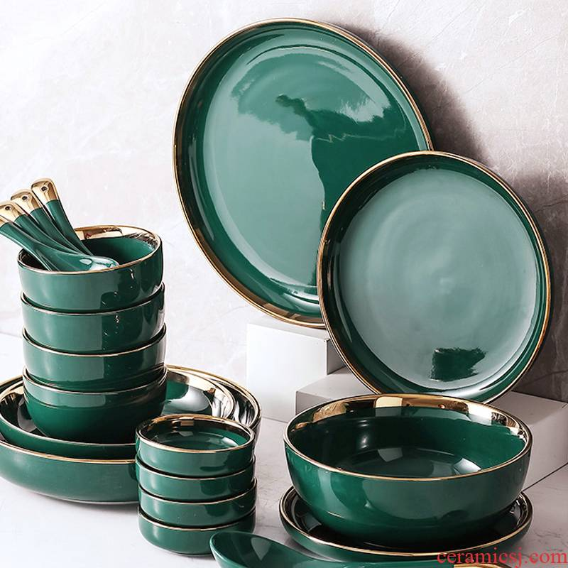 Scene for the Nordic emerald up phnom penh dish home deep dish western food steak dish plate web celebrity ceramic tableware bowls