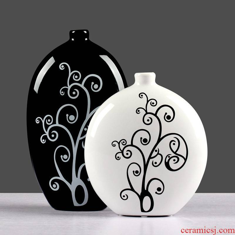 Contracted and I household adornment sitting room red wine rack from creative furnishing articles in black and white ceramic flower vases, furnishing articles