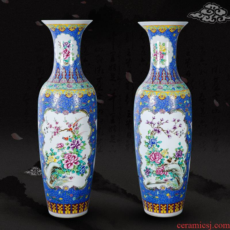 Jingdezhen ceramics landing large vases, hand - made pastel antique Chinese painting of flowers and a sitting room home furnishing articles ornaments