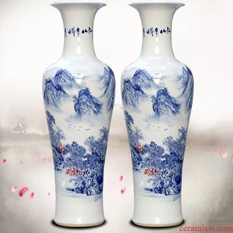 Jingdezhen porcelain ceramics hand - made sitting room be born Chinese landscape painting flower arranging big vase household furnishing articles ornaments
