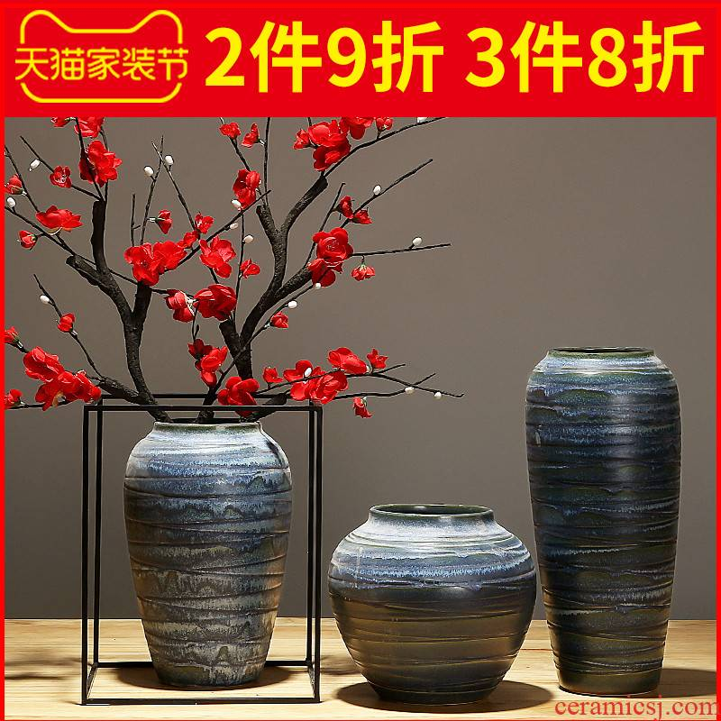 New Chinese style porch jingdezhen ceramics vase simulation table flower arranging dried flower adornment contracted home furnishing articles