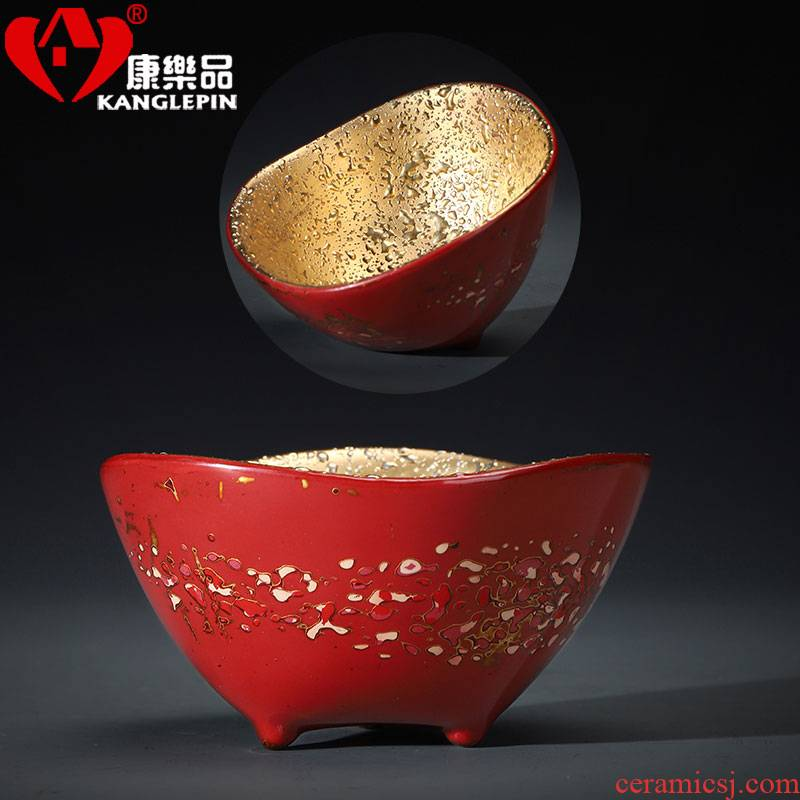 Recreational product lacquer checking ceramic tea set gold cup with three legs big master cup sample tea cup Chinese single CPU
