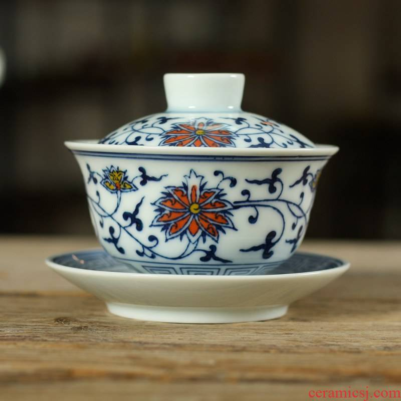 Kung fu tea set ceramic tureen small blue and white porcelain bowl with famous calligraphy hand - made tureen bucket color three bowls