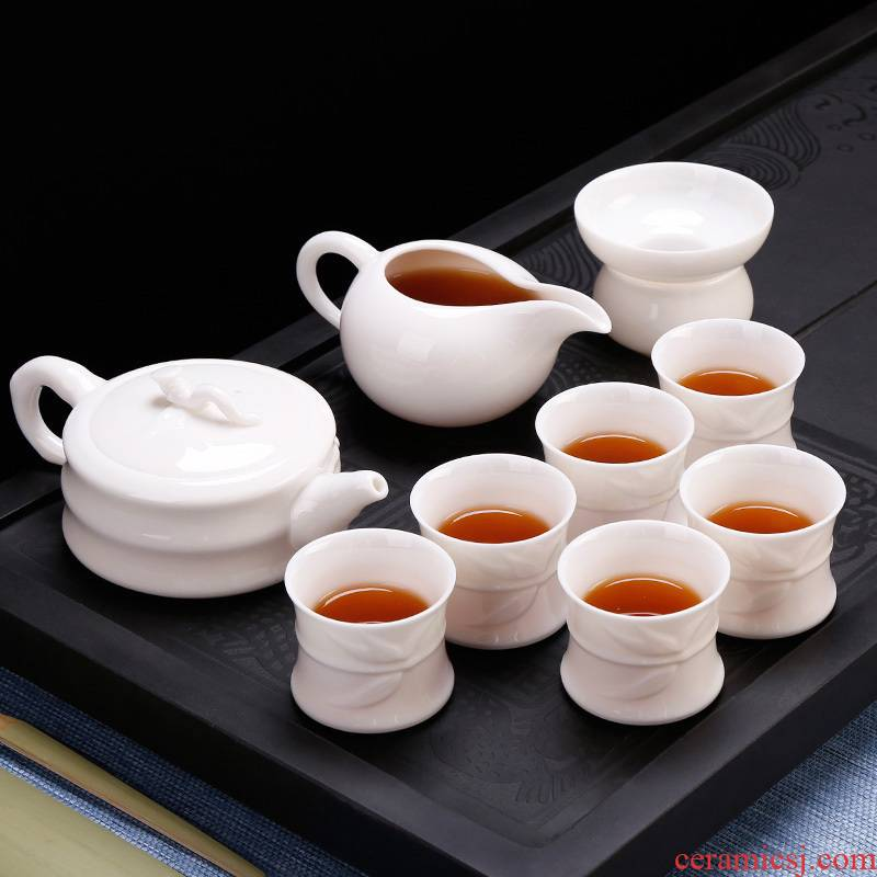 Kung fu tea set high white porcelain box 6 people whole household teapot tea cup combination Chinese modern office